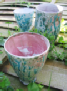 light blue pink pots